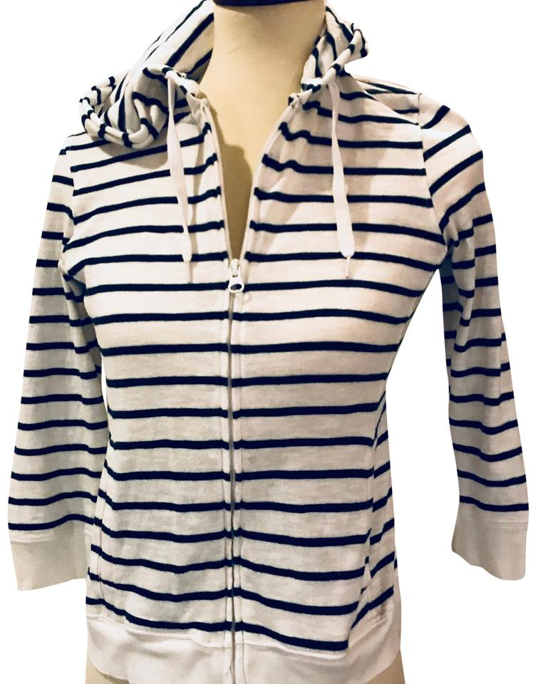 Blue and white striped hoodie