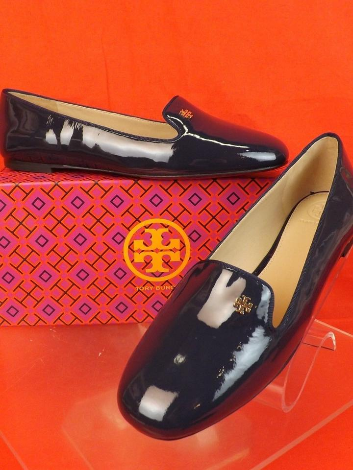Leather Flats Patent Navy Tory Blue Bright Burch Loafers Gold Samantha Reva Smoking 7pgwXqP