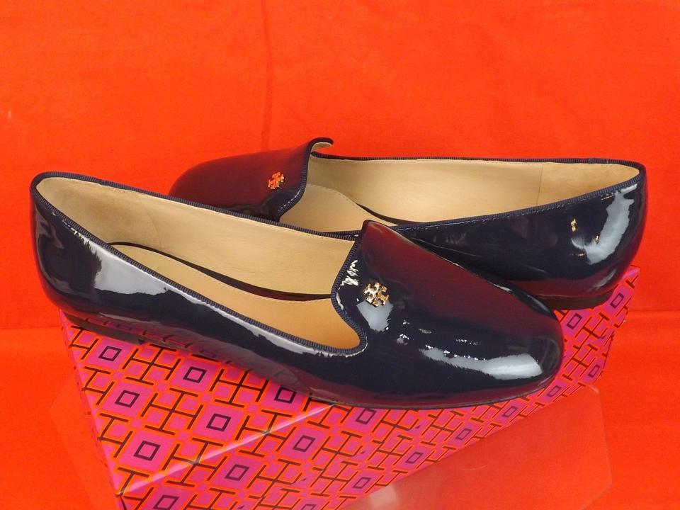Navy Smoking Loafers Flats Bright Burch Reva Gold Leather Blue Patent Tory Samantha H7ZqwEBB
