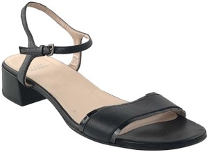 Stuart Weitzman Ankle Strap Low Heel Black Sandals