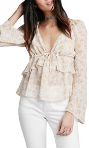 Free People Bell Sleeve Floral Top Ivory