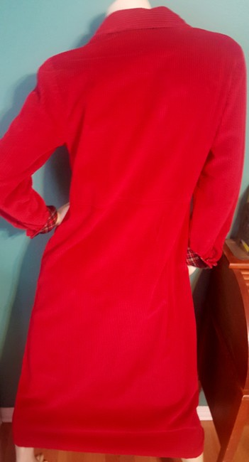 Red Maxi Dress by Talbots Comfortable Corduroy Everyday Wear Plaid Accents