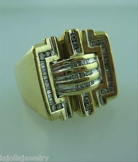 Other 14k,Yellow,Gold,Large,Mens,Baguette,Round,Diamonds,Cluster,Ring,Size,9.5
