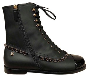 Chanel Chain Combed Gold black Boots