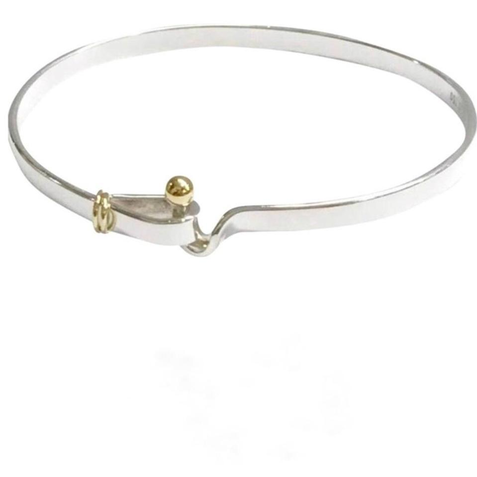 hook eye bangle with ed gold detail bracelets tiffany sterling style classic bangles and silver chic