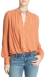 Free People Button-up Crochet Top Peach