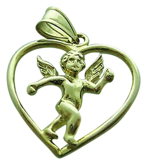Other 14k,Yellow,Gold,Cupid,In,Heart,Pendant,Charm,Necklace,Love