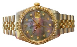 Rolex Mens,Rolex,Datejust,Two,Tone,Mother,Of,Pearl,Diamond,Bezel,And,Dial,Watch