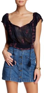 Free People Paisley Embroidered Navy Top Indigo Combo