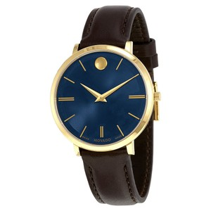 Movado Ultra Slim Blue Sunray Dial Ladies Leather Watch