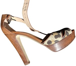 Marc Fisher Leather Animal Print Brown Pumps