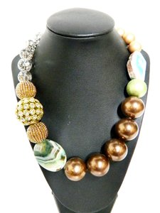 Lenora Dame Multi Textured Large Bead and Stone Necklace