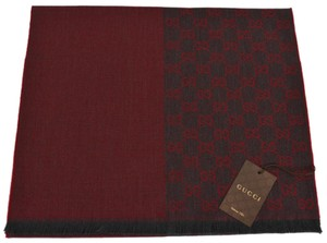 Gucci NEW Gucci 344994 100% Wool Burgundy Red Reversible GG Guccissima Scarf