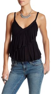 Free People Ruffle Medium Top Black