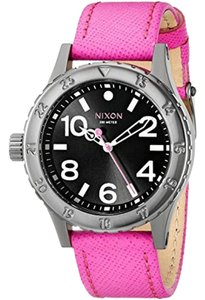 Nixon A467-2049 Women's Pink Leather Band With Black Analog Dial Watch
