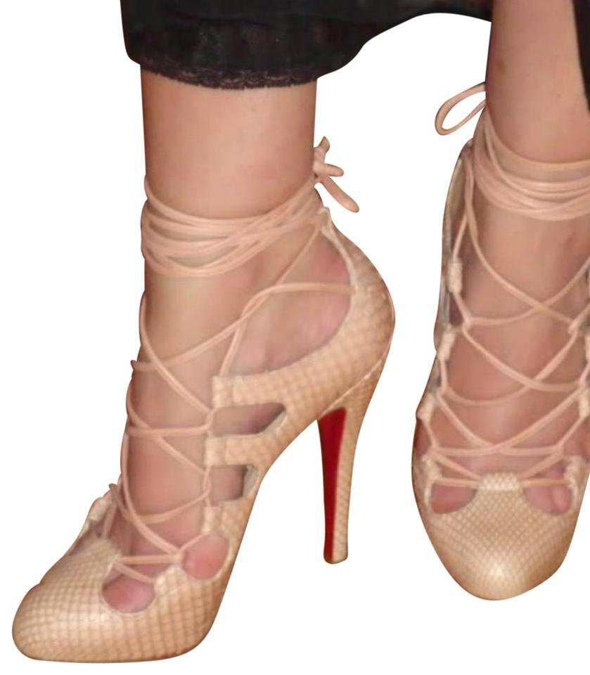 timeless design 3adc5 2c6e3 Christian Louboutin Nude Python Bloody Mary Pump Sandals Size EU 37  (Approx. US 7) Regular (M, B) 68% off retail