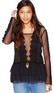 Free People Midnight Memories Medium Crochet Stunning Top Black
