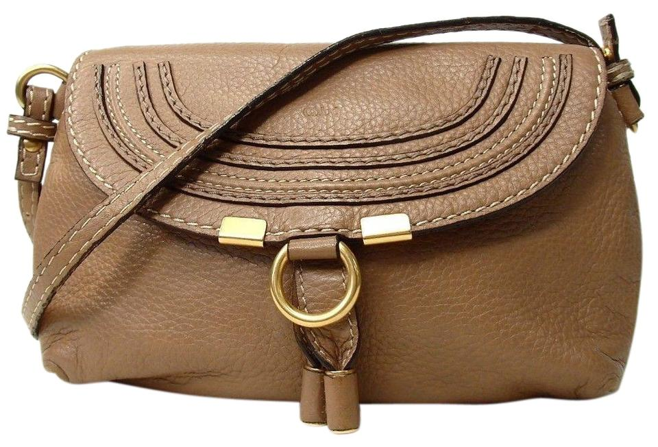 ec9ead383f Chloé Marcie Small Pochette Tan Brown Leather Cross Body Bag - Tradesy