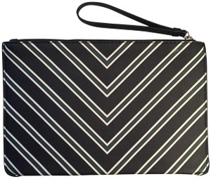 Mango Chevron Zip Black Clutch