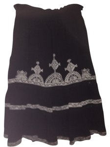 Fire Elastized Beach Cover Up Skirt BLACK AND WHITE