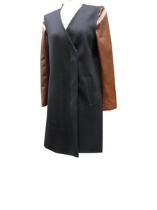 Theory Mixed Media Leather Wool Vest Convertible Pea Coat