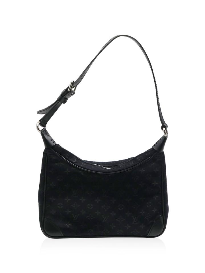 Louis Vuitton Boulogne Mini Lin Petit Handbag Black Satin Shoulder ... eb7150c76debc