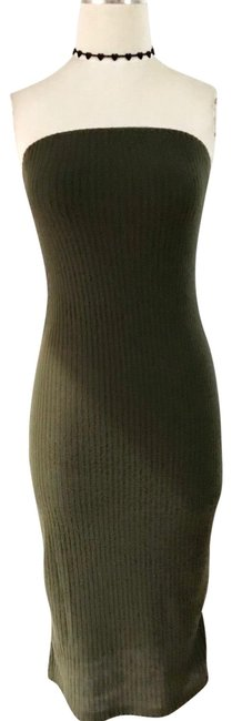 Item - Green Ribbed Strapless Midi Bodycon Form Fitting Mid-length Night Out Dress Size 4 (S)