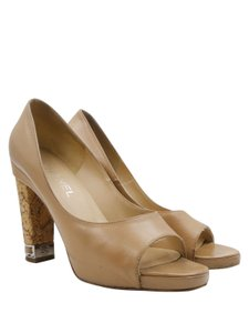Chanel Leather Silver Hardware Chain Peep Toe Cork beige Pumps