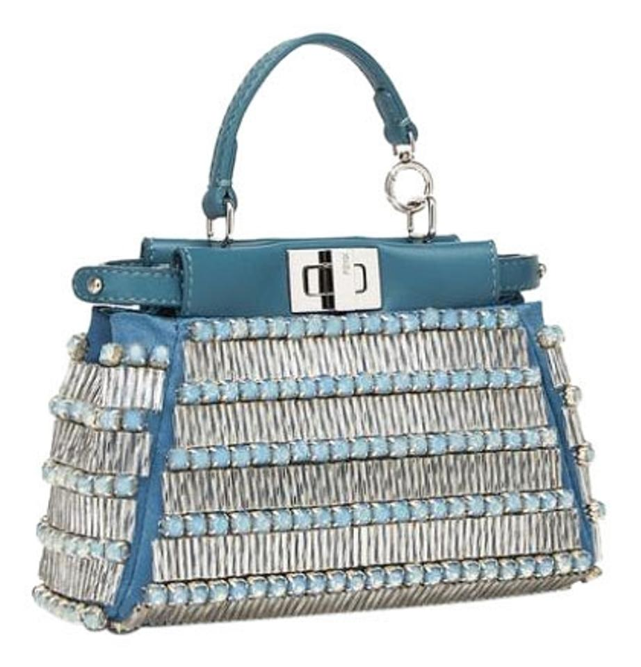 89586f5b Fendi Micro Peekaboo In Blue with Multi Crystal Leather Embroidery Cross  Body Bag 38% off retail