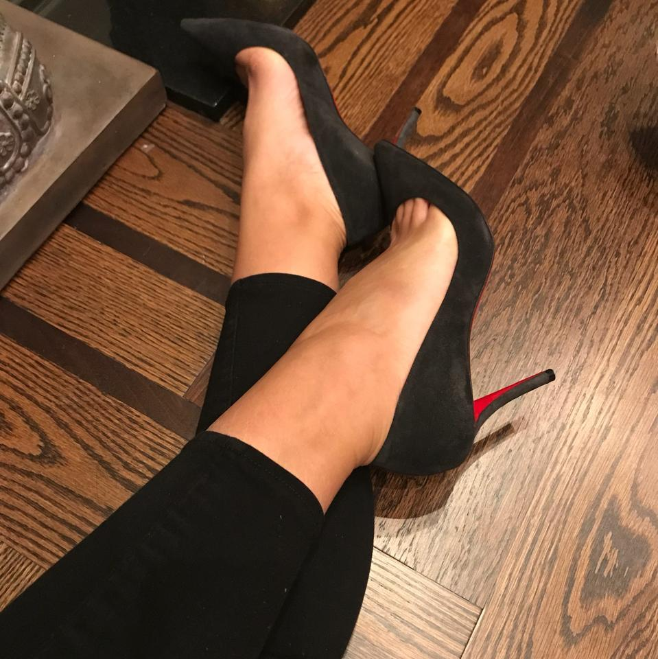 official photos aa764 b9713 Christian Louboutin Gray Apostrophy 85mm Suede Stiletto Pumps Size EU 37.5  (Approx. US 7.5) Regular (M, B) 19% off retail