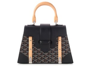 Goyard Gy.l1220.05 Leather Wood Top Handle Satchel in BLACK