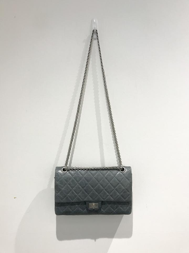 3f90f930e1948f Chanel Classic Flap 2.55 Reissue Quilted Classic Double (Size 226) Grey  Calfskin Leather Shoulder Bag - Tradesy