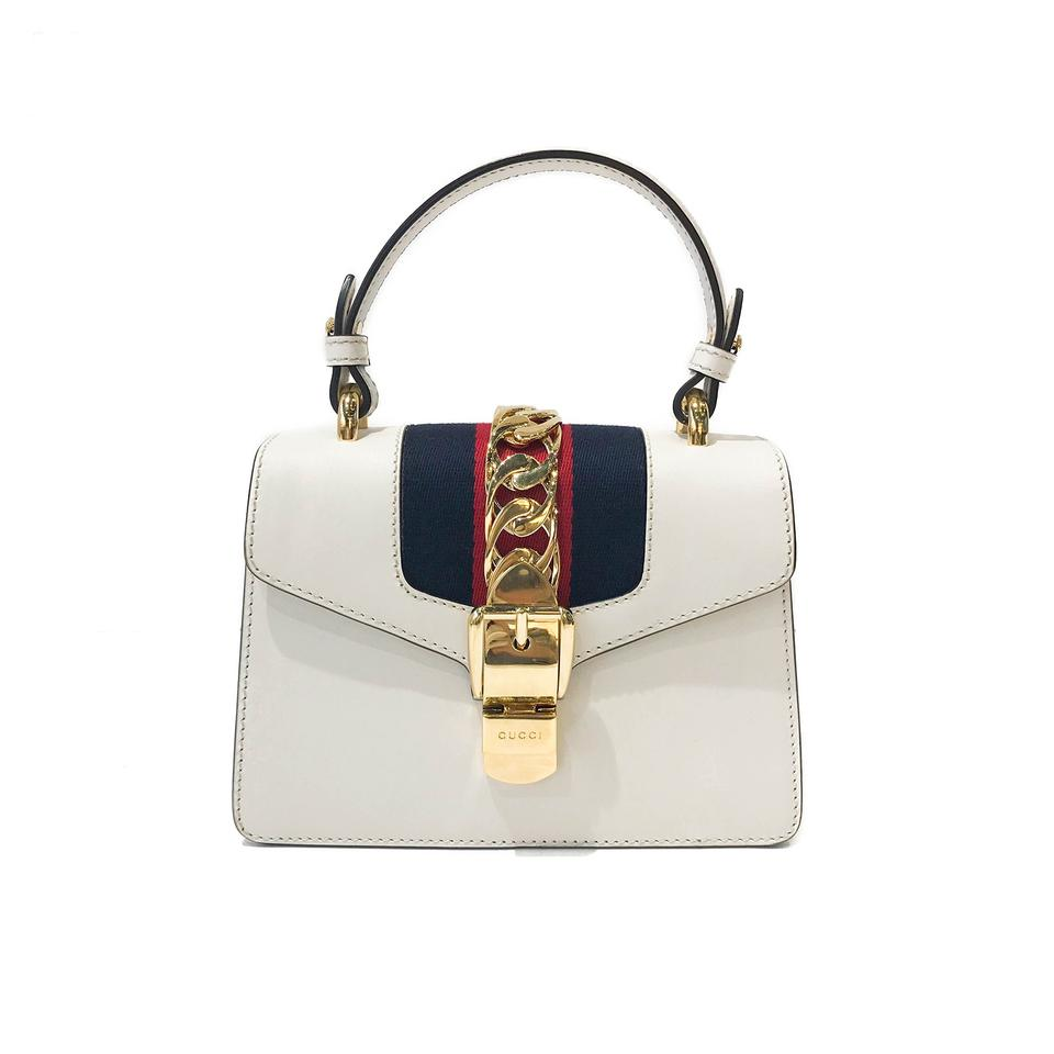eef3acc62 Gucci Sylvie Mini Top Handle White Leather Shoulder Bag - Tradesy