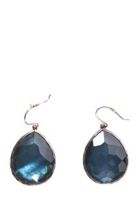 Ippolita Blue Faceted Engraved Logo French Hook Earrings