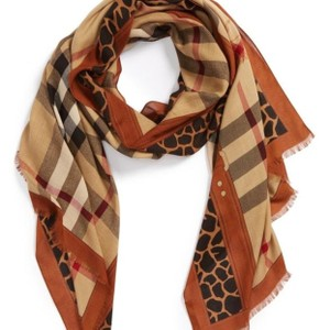 Burberry Burberry Women's Brown Animal Print Haymarket Check Scarf