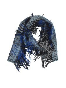 Other Mohair Blend Blue Fringed Blue Scarf