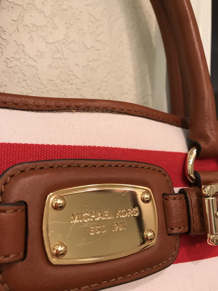 543253936731 MICHAEL Michael Kors Hamilton Ew Large Striped Striped Stripe Tote Shoulder  Red White Leather Canvas Satchel - Tradesy