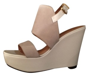 Robert Clergerie Suede White Wedges