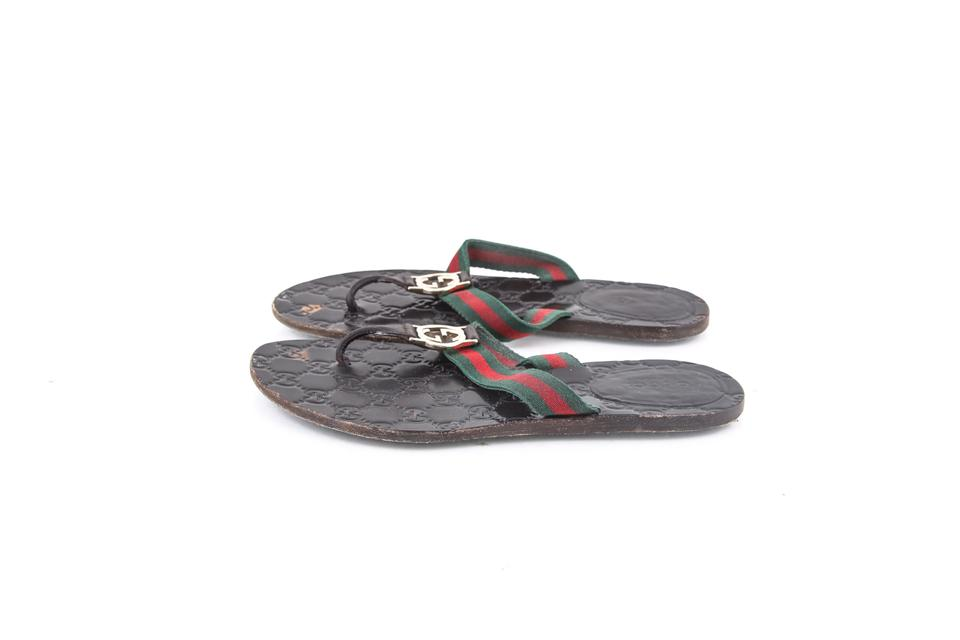 13be6964e04 Gucci   Black Gg Thong Web Brown Sandals Size US 7 Regular (M