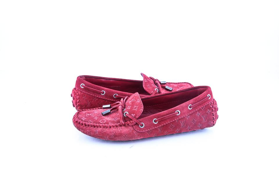 61ef7d76e691 Louis Vuitton Red Suede Monogram Gloria Loafers Rouge Flats Size US ...