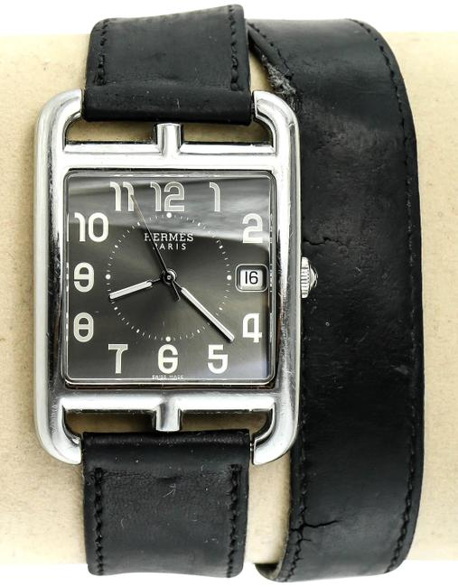 Item - * Stainless Steel and Black Barenia Leather Cape Cod Double Tour Watch