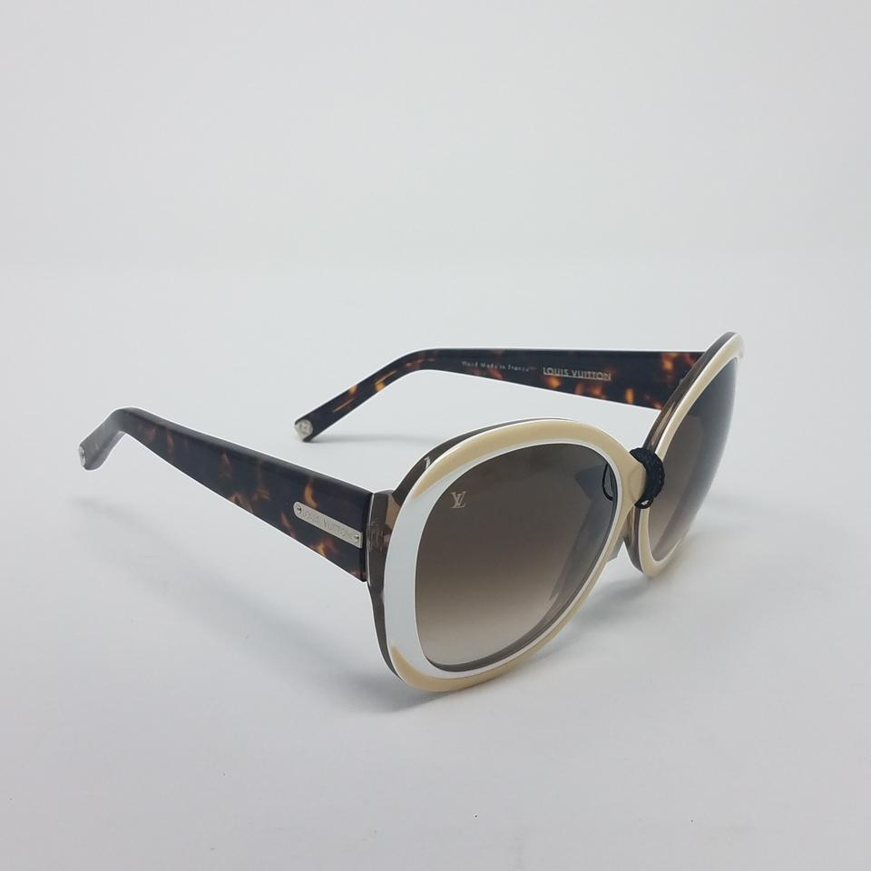 c03449a5d6bd Louis Vuitton Brown White Gold Creme Angelica Logo Embellished Sunglasses