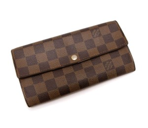 6d49116975b1 Louis Vuitton Louis Vuitton Damier Ebene Porte Monnaire Sarah bifold long  wallet