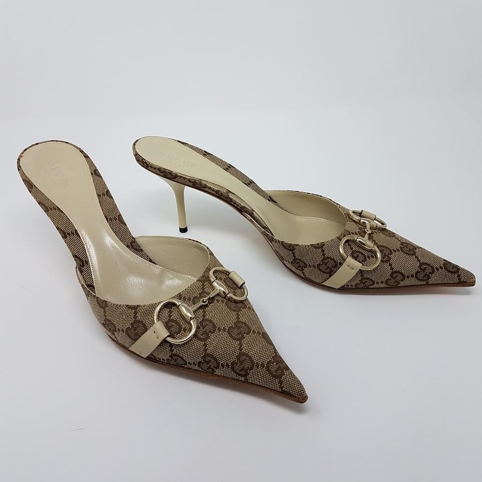 a8252d274 Gucci Beige Brown Tan Gg Canvas Pointed-toe Mules Pumps Size EU 39.5  (Approx. US 9.5) Regular (M, B) - Tradesy