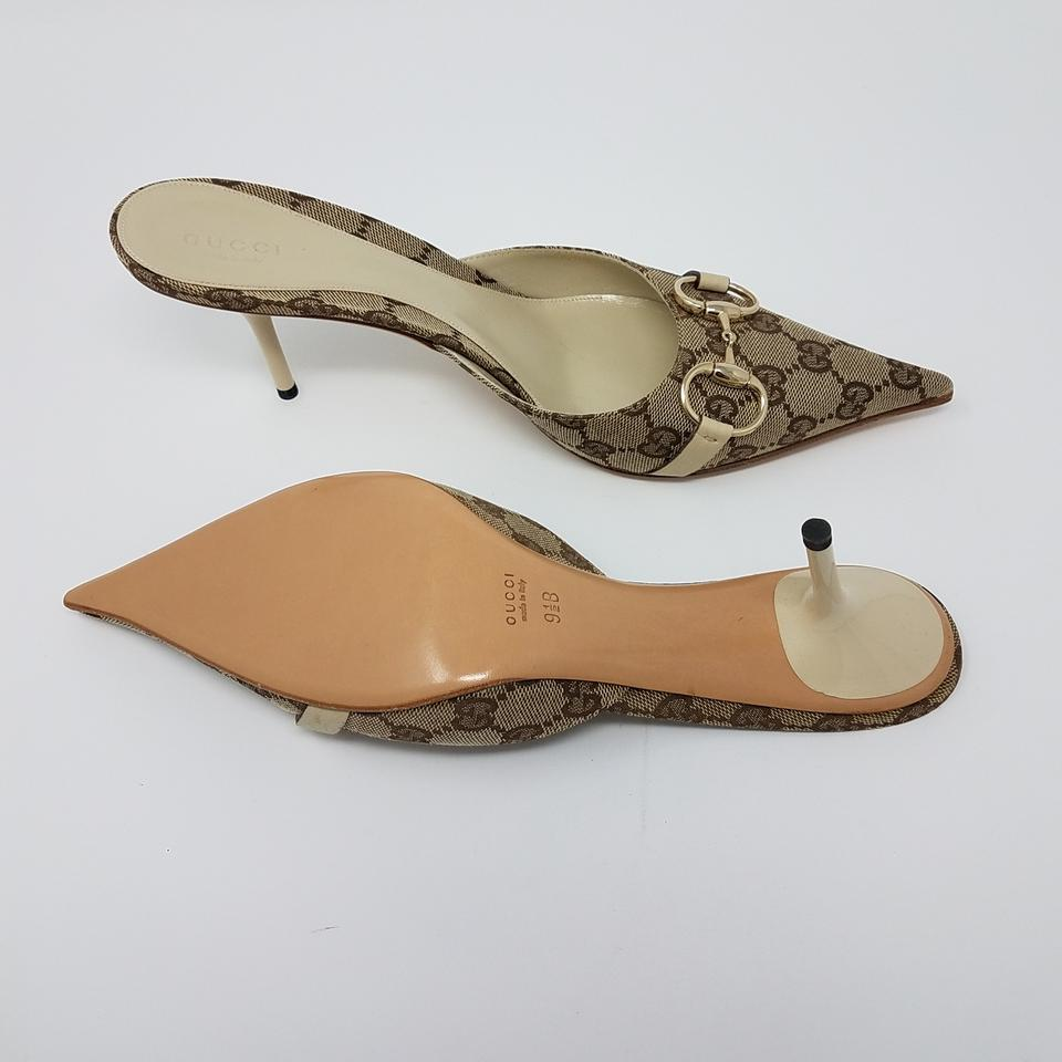 46265b020 Gucci Gold Hardware Pointed Toe Guccissima Horsebit Gg Web Beige, Brown  Pumps Image 10. 1234567891011