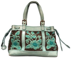 Isabella Fiore Leather Woven Wool Embroidered Vintage Tote in Brown and Teal