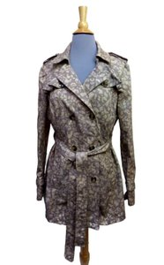 Daughters of the Liberation Chapeau Noir Mini-trench Leopard Print Ruffle Sash Jacket Trench Coat