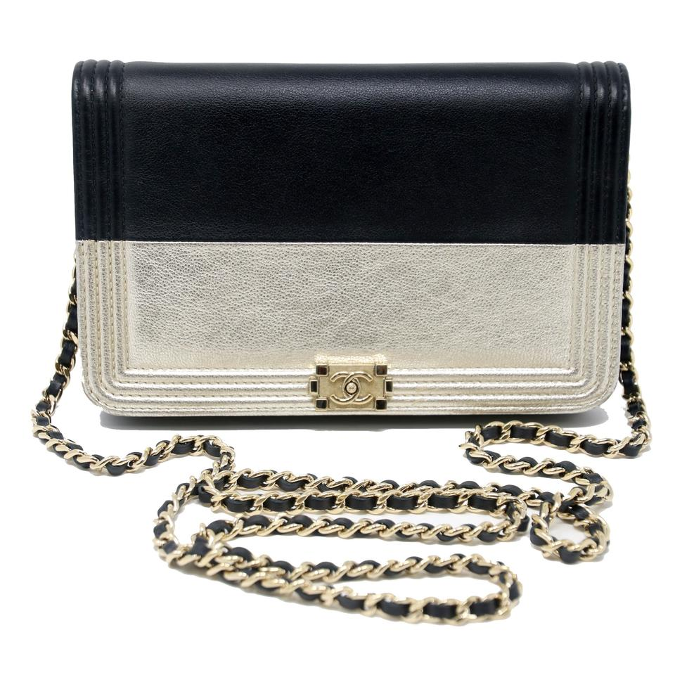 Chanel Boy Wallet on Chain Champagne Quilted Flap 14k Black Lambskin Cross  Body Bag 8bac32da3109a