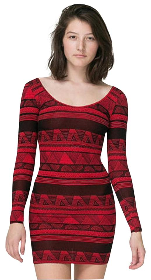 680707b0db89 American Apparel Red Long Sleeve Bodycon Short Casual Dress Size 6 ...