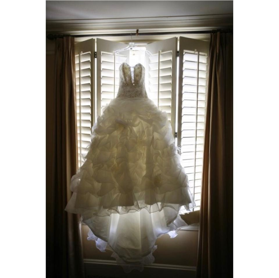 Allure Bridals White Silver Organza Couture C170 Princess Ballgown